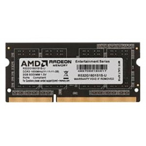 Модуль памяти AMD Radeon™ SO-DIMM DDR3 2GB 1600  R5 Entertainment Series Black R532G1601S1S-U Non-ECC, CL11, 1.5V, RTL