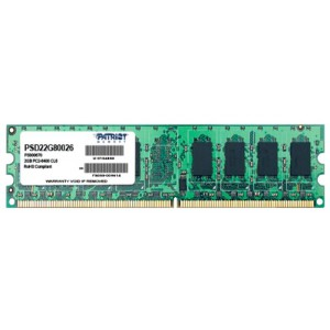 Модуль памяти Patriot DIMM DDR2 2Gb 800MHz Patriot PSD22G80026 RTL PC2-6400 CL6  240-pin 1.8В